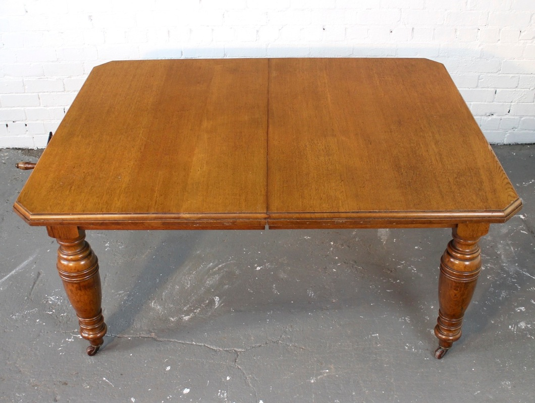 antique victorian oak extending dining table 8ft 10 seat